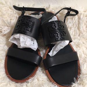 Tory Burch Melinda Leather Flat Logo Sandal